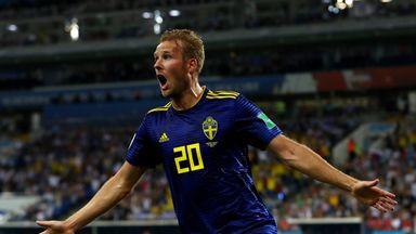 Ola Toivonen celebrates scoring Sweden's opening goal