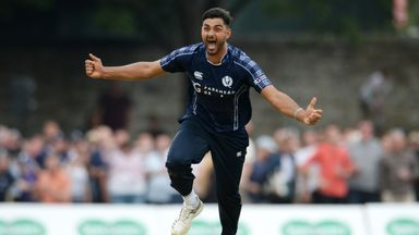 Safyaan Sharif defended seven runs in the last over as Scotland tied with Ireland