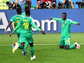 Mbaye Niang of Senegal celebrates after scoring his team's second goal