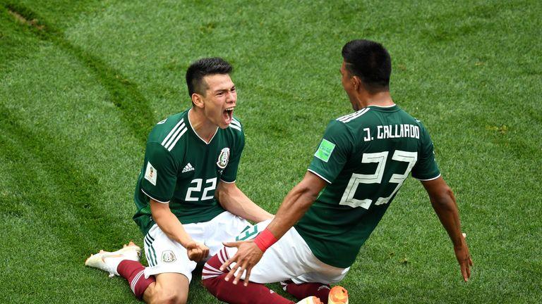 Hirving Lozano celebrates his goal with Jesus Gallardo