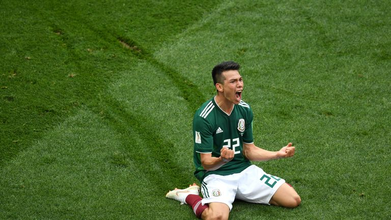 Hirving Lozano slides on his knees in celebration after giving Mexico the lead