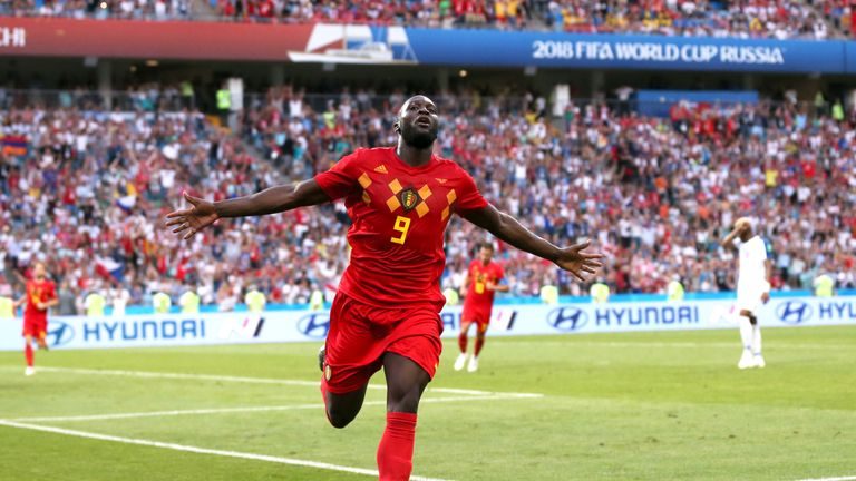 Romelu Lukaku celebrates after scoring his second and Belgium's third goal