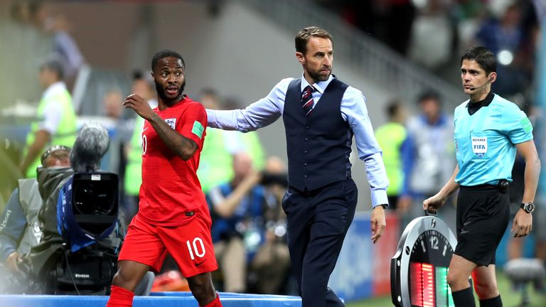 Sterling and Southgate during the 2018 FIFA World Cup Russia group G match between Tunisia and England at Volgograd Arena on June 18, 2018 in Volgograd, Russia.
