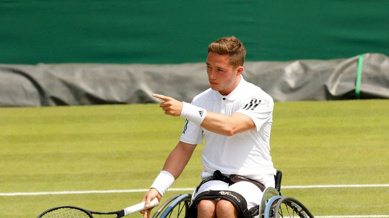 Alfie Hewett is into the Wimbledon semi-finals after a fine win over Stephane Houdet (picture courtesy of Anna Vasalaki)
