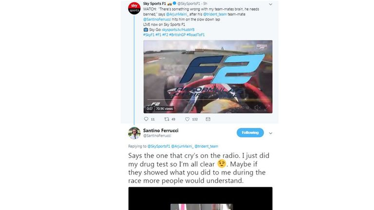 American F2 driver banned for collision, mobile phone in car