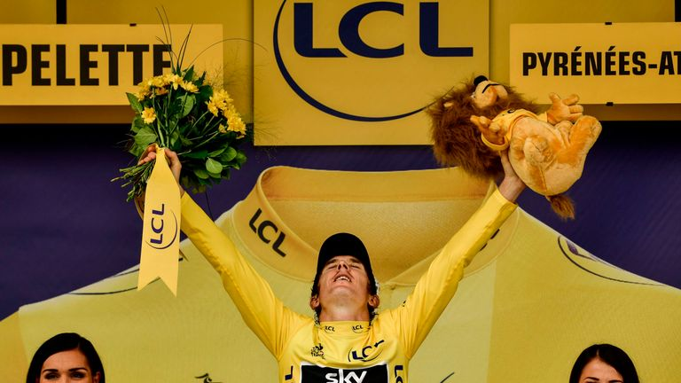Geraint Thomas has held the yellow jersey since taking stage 11 the first of his back-to-back wins in the Alps