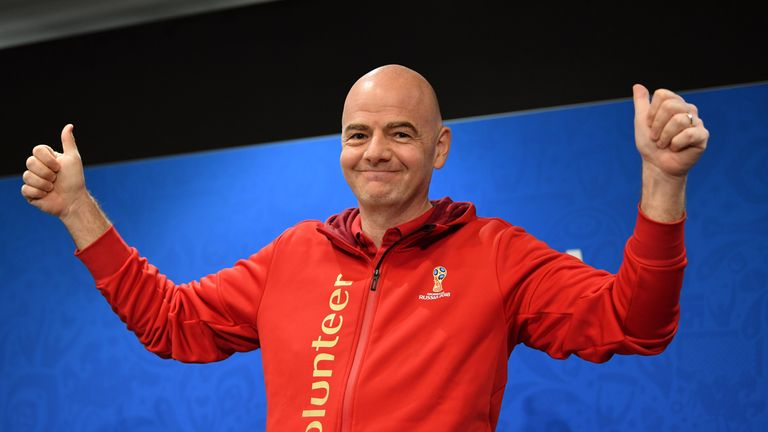 FIFA President Gianni Infantino gives a thumbs up to this summer's World Cup as the tournament draws to a close
