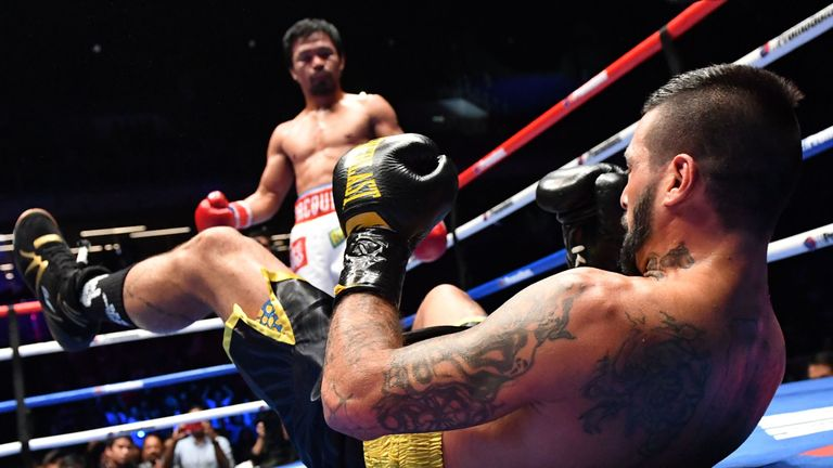 Manny Pacquiao knocked Lucas Matthysse down on three occasions in Kuala Lumpur
