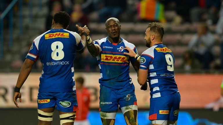 Raymond Rhule celebrates his first-half try against the Sharks at Newlands