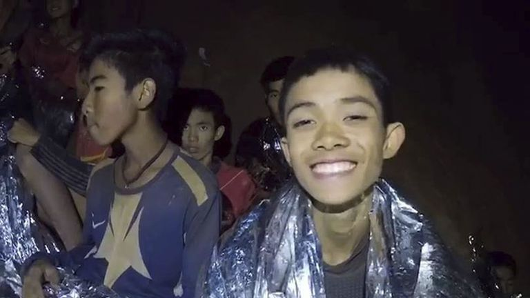 Members of a boys football team from Thailand are seen while trapped in a cave in Chiang Rai on July 4, 2018