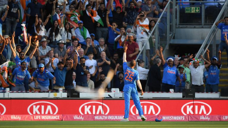 Shikhar Dhawan celebrates in front of the India fans after his brilliant catch