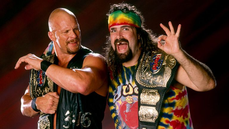 'Stone Cold' Steve Austin and Dude Love held the tag-team titles in 1997