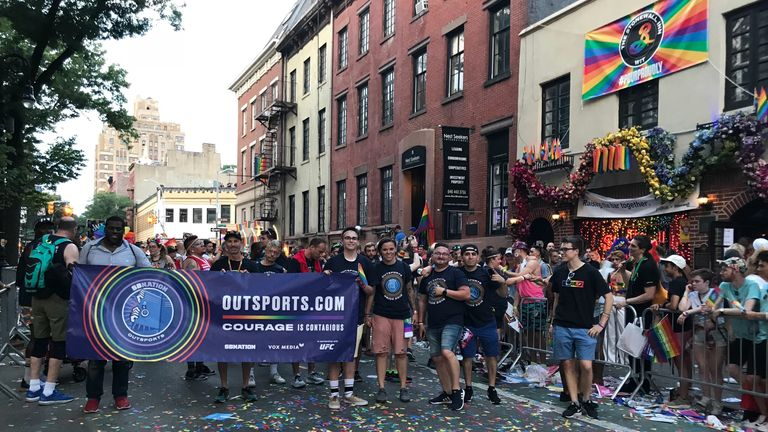 The New York Pride parade passed by the famous Stonewall Inn, the scene of the famous 1969 riots
