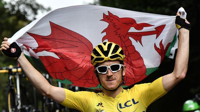 Geraint Thomas celebrates winning the Tour de France