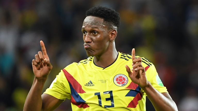Yerry Mina scored Colombia's equaliser against England at this year's World Cup