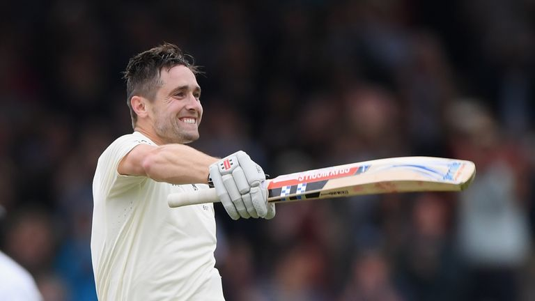 Chris Woakes celebrates his maiden Test century against India at Lord's