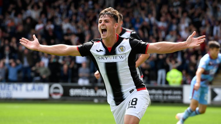 St Mirren's Danny Mullen celebrates after scoring to make it 1-0