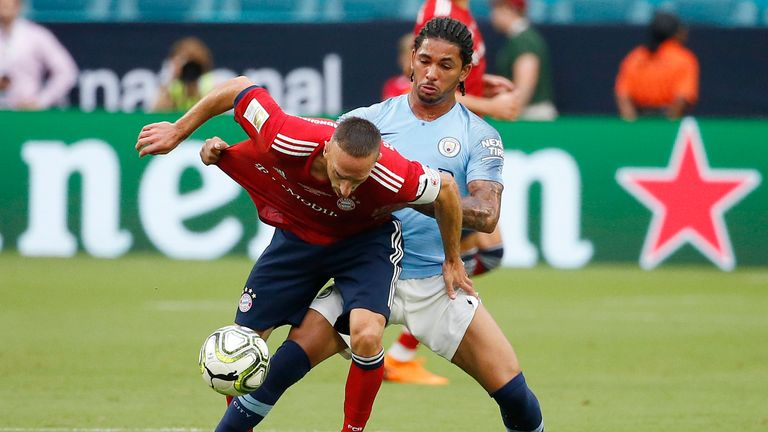 Douglas Luiz challenges Bayern Munich's Franck Ribery during a pre-season friendly in Florida