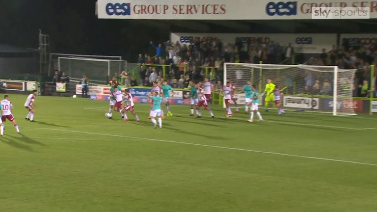 WATCH: Goalmouth scramble at Forest Green