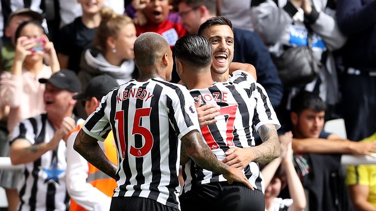 Newcastle United's Joselu celebrates his equailser