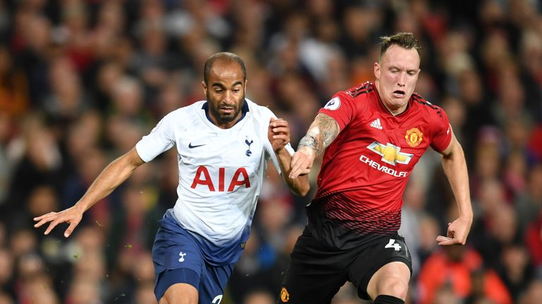 Moura and Phil Jones battle for possession