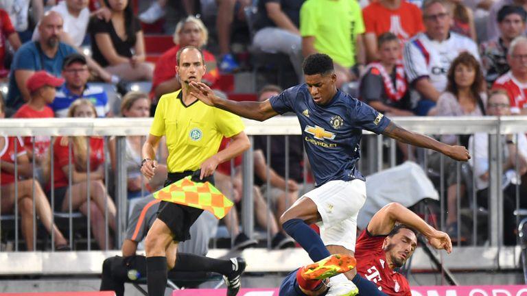 Marcus Rashford struggled to get involved at the Allianz Arena