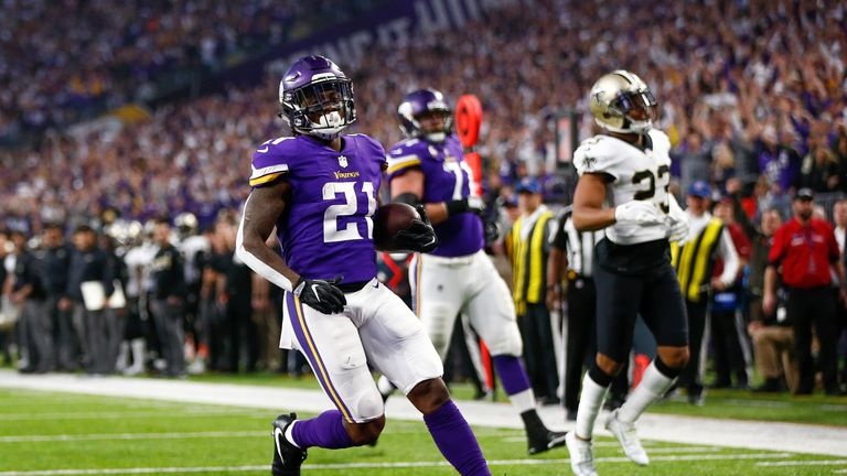 Running back Jerick McKinnon, seen here playing for the Vikings last season, will miss at least a week with a calf strain