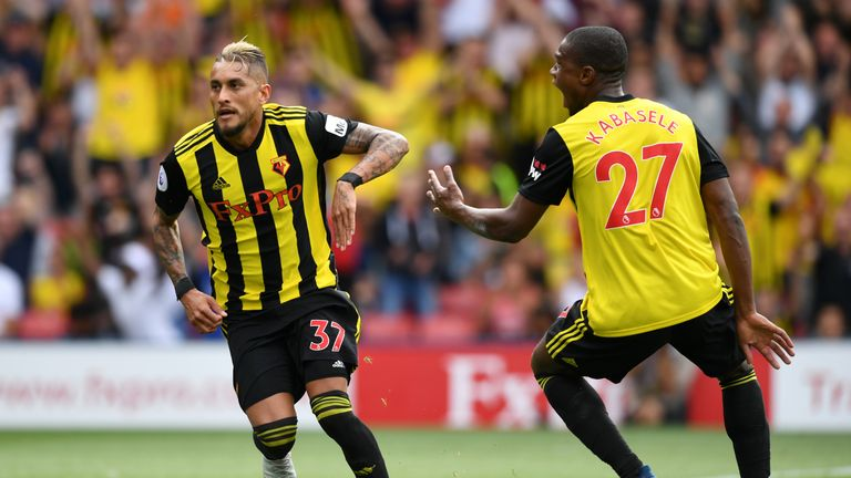 Roberto Pereyra celebrates after putting Watford ahead at Vicarage Road
