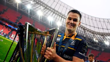 Leinster fly-half Johnny Sexton poses with the European Champions Cup trophy