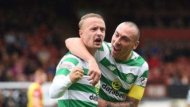 Celtic's Leigh Griffiths (L) celebrates his goal with Scott Brown