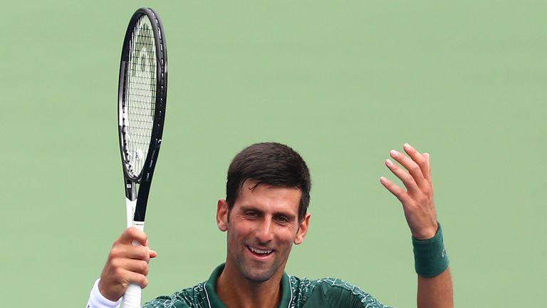 Novak Djokovic celebrates victory over Peter Polansky