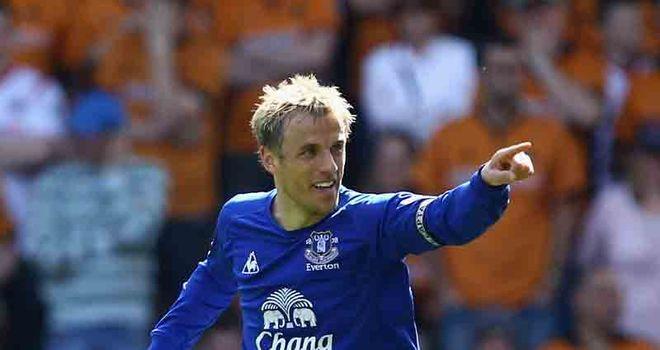 Neville celebrates his goal