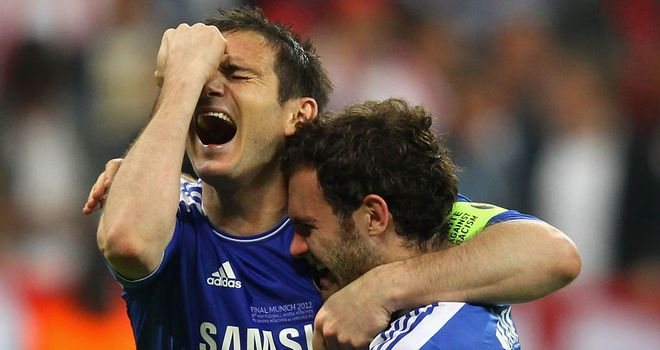 Lampard celebrates with Juan Mata after the penalty shootout win