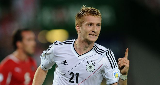 Marco Reus celebrates his goal for Germany.