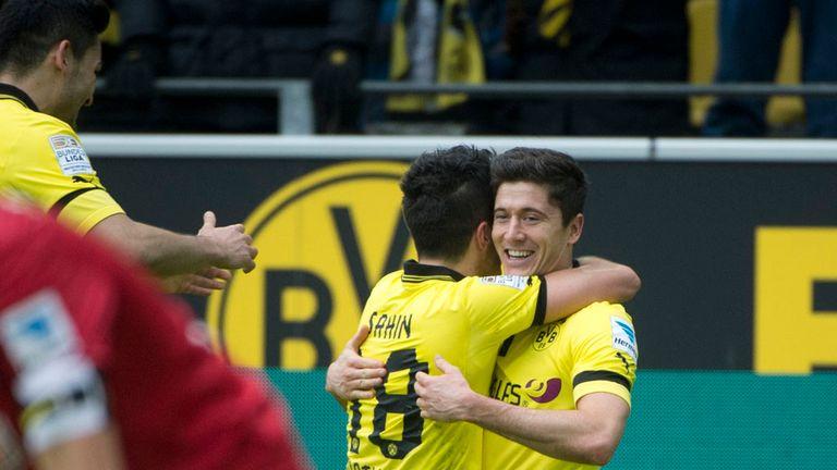 Robert Lewandowski twice found the net in Dortmund win