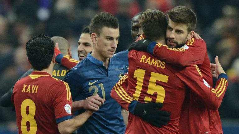 Celebration time: Spain welcome their win over France