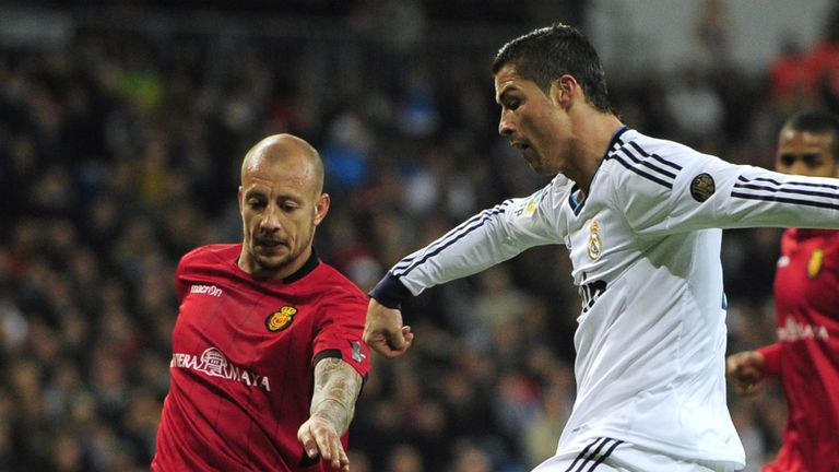 Alan Hutton in action against Cristiano Ronaldo for Real Mallorca