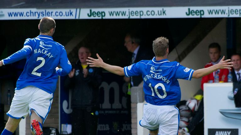 David Wotherspoon (r): Celebrates scoring St Johnstone's second goal