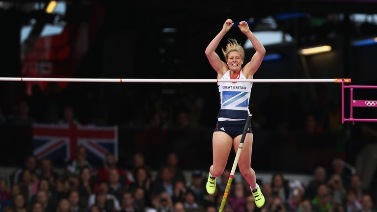 Holly Bleasdale of Great Britain attempts a vault in the Women's Pole Vault final on Day 10 of the London 2012 Olympic Games at the Olympic Stadium on August 6, 2012.
