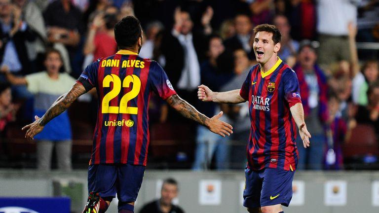 Lionel Messi: Celebrates netting his hat-trick against Ajax