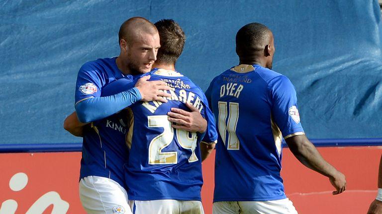 Jamie Vardy (left): Hit the winner for Leicester