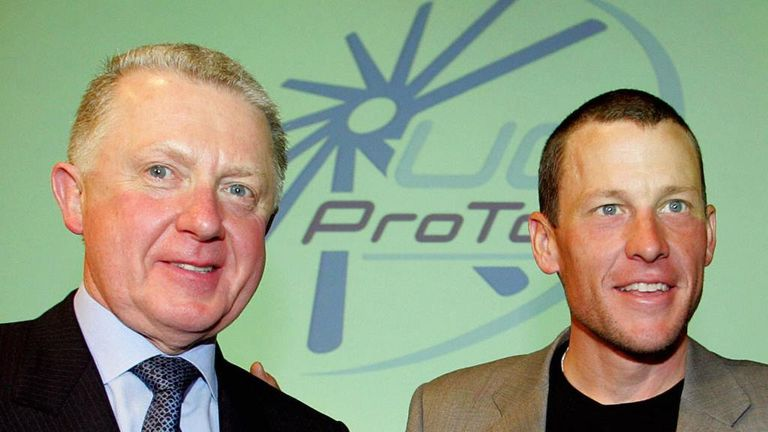 Hein Verbruggen, left, was UCI president during Armstrong's seven Tour de France wins