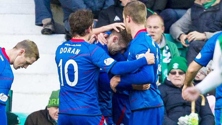 Inverness Caley players celebrate their second goal against Hibernian