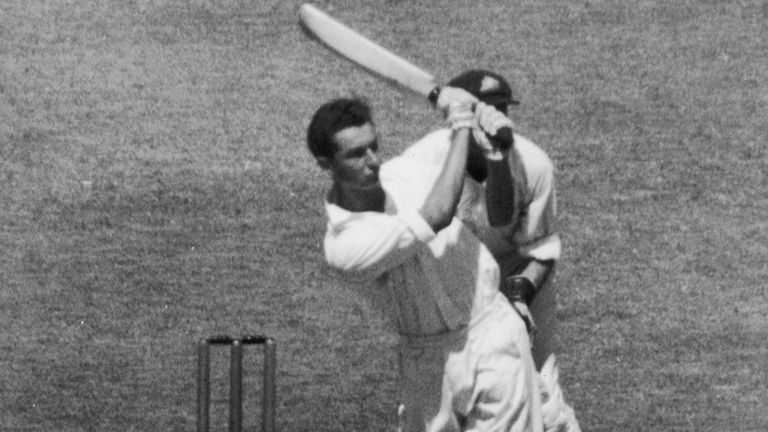 Reg Simpson goes on the attack during his century at Melbourne in 1951