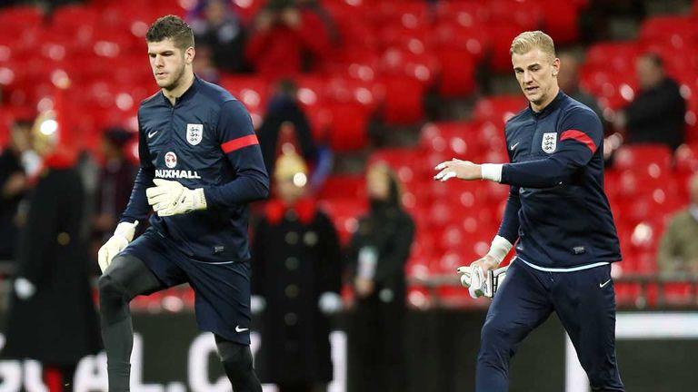 Fraser Forster and Joe Hart warm-up at Wembley