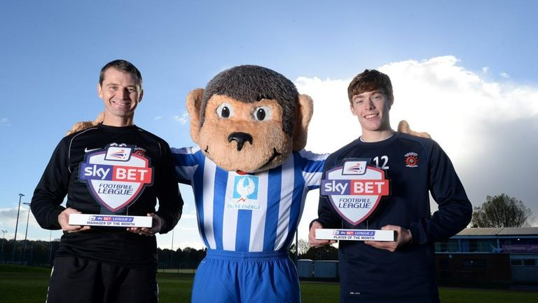 Colin Cooper (l) and Luke James (r): Pose with their Sky Bet League Two awards