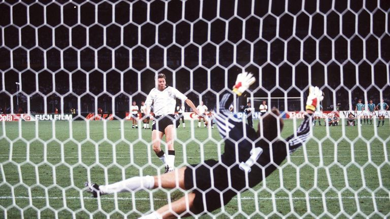 Chris Waddle fires over the bar against Germany in the 1990 World Cup semi-final