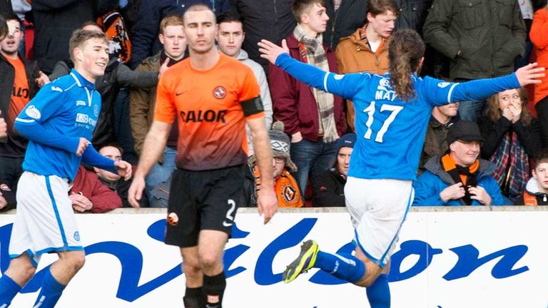 Stevie May: Celebrates his opening goal in St Johnstone's win