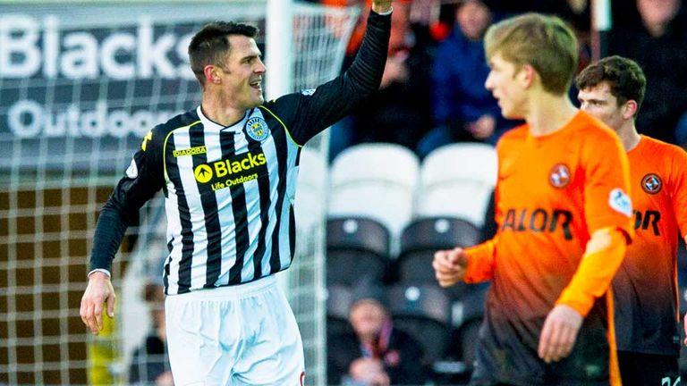 Steven Thompson: St Mirren striker celebrates his first goal against Dundee United