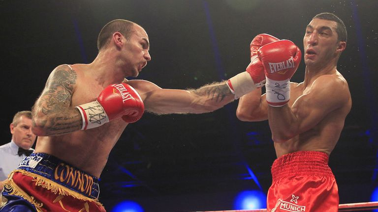 Kevin Mitchell connects with a left jab early in his fight with the game Karim El Ouazghari (Pic Lawrence Lustig)